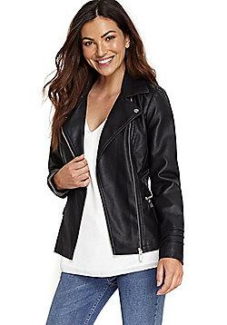 Wallis Zipped Pocket Biker Jacket - Black