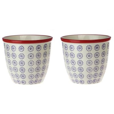 Patterned Plant Pot. Porcelain Indoor / Outdoor Flower Pot - Purple / Red Swirl Design - Box of 2