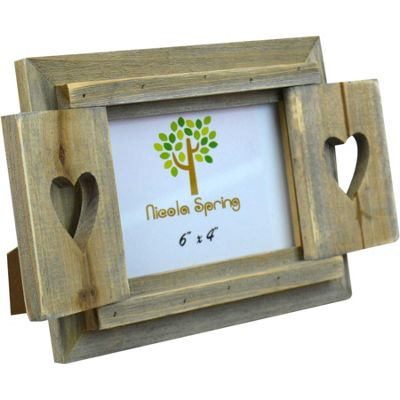 Nicola Spring Driftwood Heart Shutters Freestanding Photo Picture Frame - 6 x 4