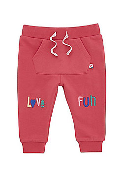 F&F Love Fun Embroidered Joggers - Pink
