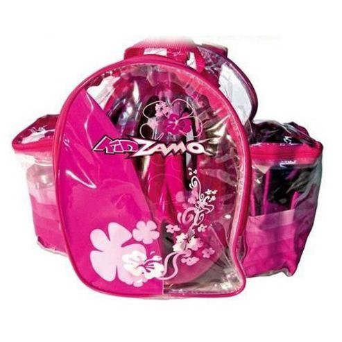 Kidzamo Bimba Girls Pink Cycling Helmet, Knee/Elbow Pads, Bottle and Rucksack Gift Set