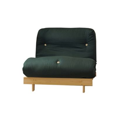 Comfy Living 2ft6 Small Single Futon Set incl. Mattress and Wooden Base in Glade Green