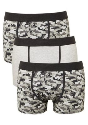F&F 3 Pack of Camo Print Hipsters with As New Technology XS Grey