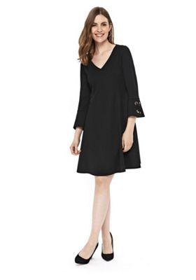 Wallis Eyelet Cuff Detail Flared Dress Black 10