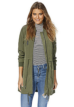 F&F Shower Resistant Long Line Bomber Jacket - Green
