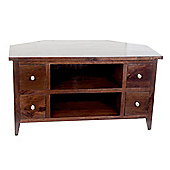 Homescapes Groove Dark Shade Solid Mango Wood TV Video Corner Unit With Drawers