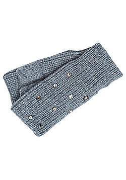 F&F Jewelled Handwarmer Mittens - Charcoal