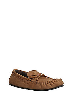 """F&F Faux Suede Micro-Fresh® Moccasin Slippers with Thinsulate""""™ - Tan"""