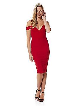 AX Paris Strappy Bardot Pencil Dress - Red