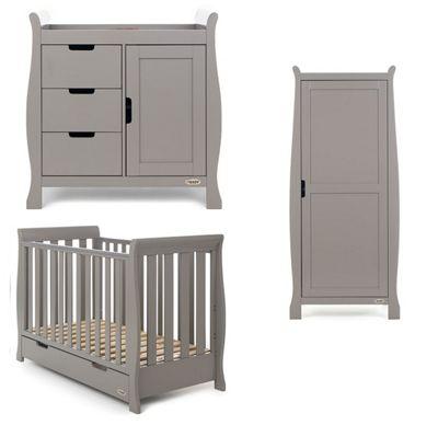 Obaby Stamford Mini 3 Piece (Single Wardrobe) Nursery Room Set - Taupe Grey