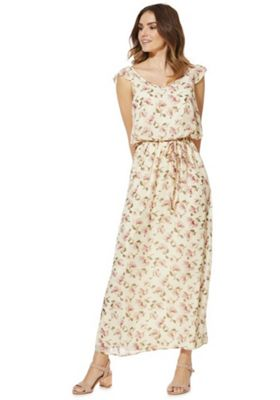 Mela London Floral Print Maxi Dress Cream 10