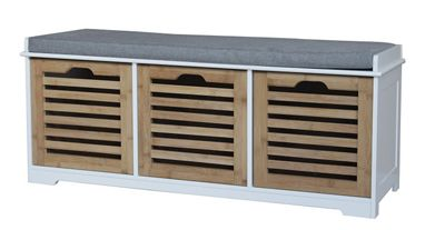 Kendal 3 Seater Storage Bench With Cushion - Bamboo