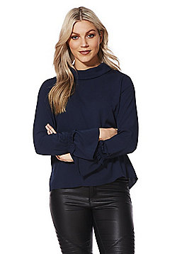 Vero Moda High Neck Bell Sleeve Top - Navy