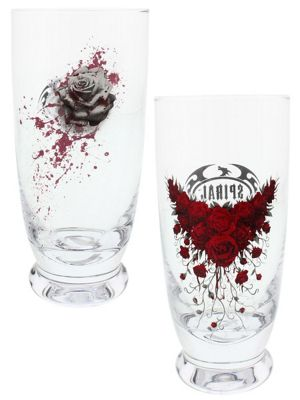 Spiral Blood Rose - Set Of 2 Drinking Glasses