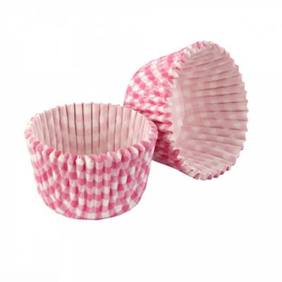 Tala Gingham Cupcake Cases, Greaseproof Bakeware, Fridge, Microwave, Oven-Safe, Pink, Pack of 32