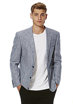 F&F Chambray Regular Fit Jacket with Linen - Blue