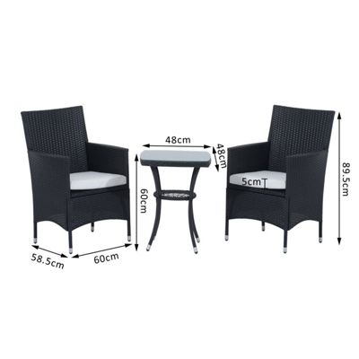 outsunny 3pc rattan furniture bistro set garden table wicker black - Rattan Garden Furniture Tesco