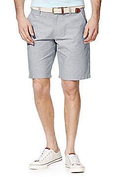 F&F Oxford Chino Shorts with Woven Belt - Grey
