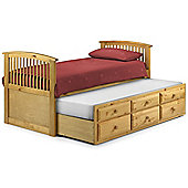 Happy Beds Hornblower Wood Guest Bed and Underbed Trundle with 2 Open Coil Spring Mattresses - Pine - 3ft Single