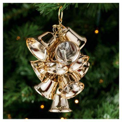 Festive Large Shiny Gold Bells Christmas Decorations, 2m X 100mm