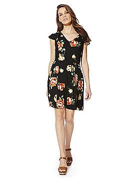 F&F Floral Print Tea Dress - Black
