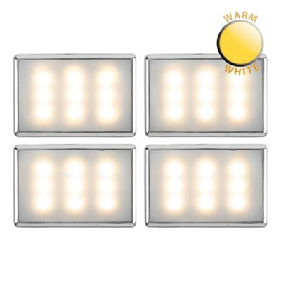 Pack of 4 Creola Chrome LED Under Cabinet Lights, Warm White