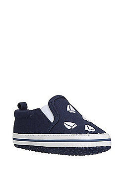 F&F Embroidered Canvas Boat Shoes - Blue