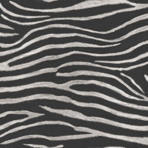 Tropics Serengeti Zebra Print Wallpaper - Black - Arthouse 670300