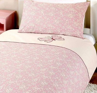 Pink Butterfly Pure Cotton Single Bedding