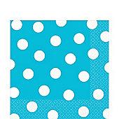 Turquoise Polka Dot Napkins - 33cm Paper
