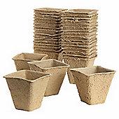 8cm Biodegradable Fibre Square Peat Pots - 72pc Multipack