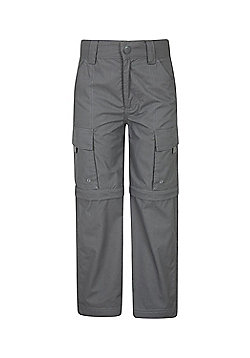 Mountain Warehouse Kids Zip-off Trousers Cotton/Polyester Fabric Blend - Grey