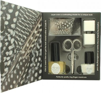 Ciate Feathered Manicure What A Hoot Gift Set 13.5ml Fast Dry Top Coat Speed Coat Pro 014 + 5ml Mini Nail Polish - Snow Virgin 001 + Scissors + Nail