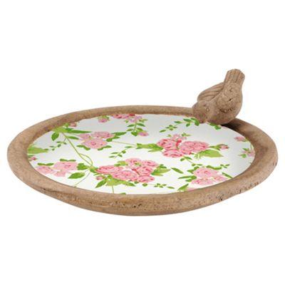 Fallen Fruits Ceramic Bird Bath, Rose Pattern