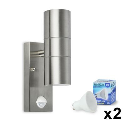 Modern Outdoor LED PIR Up & Down Wall Light in Brushed Chrome with Daylight Bulbs