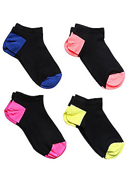 F&F 4 Pair Pack of Neon Contrast Trainer Socks - Multi