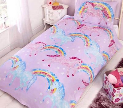 Rainbow Unicorns duvet cover and pillowcase set - single - pink