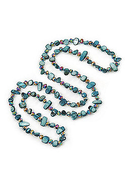 Long Teal Blue Shell Nugget and Chameleon Glass Crystal Bead Necklace - 118cm L