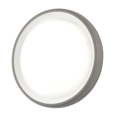 Litecraft Otto Large Circular LED Outdoor Bulkhead Wall Light, Grey