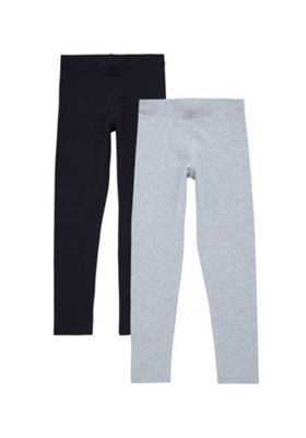 F&F 2 Pack of Leggings 9-10 years Black & Grey