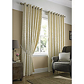 Tivoli Jacquard Leaf Eyelet Lined Curtains - Cream