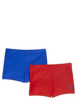 F&F 2 Pack of Surf Patch Swimming Trunks - Blue & Red