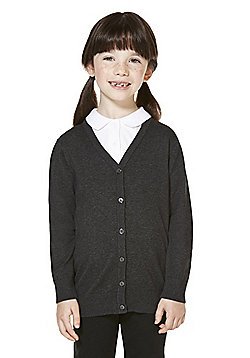 F&F School Girls Ribbed Cardigan with As New Technology - Grey