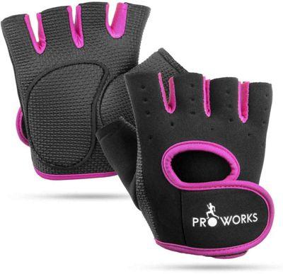 ProWorks Women s Padded Grip Black Fingerless Gym Gloves - Small