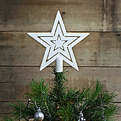 17cm White Glitter Star Christmas Tree Topper Decoration