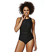 F&F Shaping Swimwear High Neck Mesh Panel Swimsuit - Black