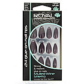 Royal 24 Glue-On Strong Full False Fake Nails Nail Tips - Mulled Wine Stiletto