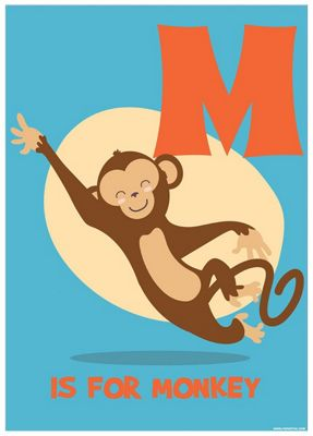 M Is For Monkey Mini Poster 32x44cm
