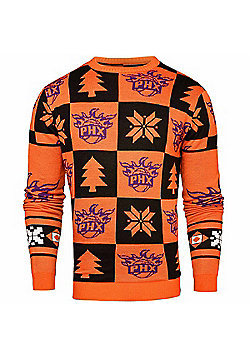NBA Basketball Phoenix Suns Patches Crew Neck Sweater - Orange & Black