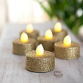 Set of 6 Gold Glitter Battery LED Tea Lights